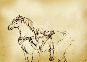 Link and Epona-Old Paper Style by a-ka-neArt