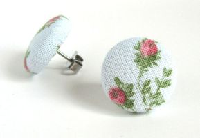 Vintage style stud earrings flower rose blue pink by KooKooCraft