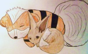 Growlithe and Eevee by MissSashy