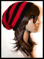 Red and Black Striped Slouchy Beanie by rainbowdreamfactory