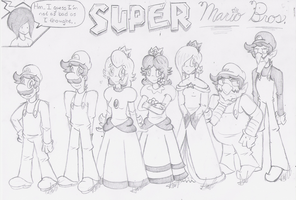 Super Mario Crew Sketch by HamSamwich