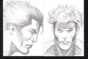 Wolverine, Gambit Sketch Cards by AlAyos