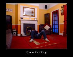 Un-winding at the fireside. by Wayman