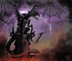 Black tower dragon by WackoShirow