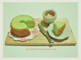 Miniature Pandan Chiffon Cake by ilovelittlethings