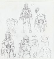 Female strogg sketches by MikazukiShigure