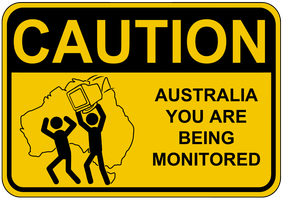 Caution Australia Monitored Sign by topher147
