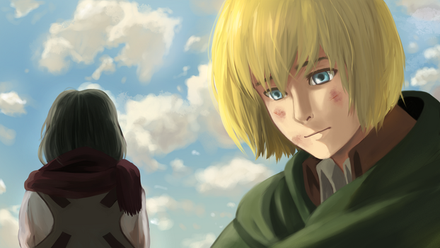 Screenshot Redraw - Armin and Mikasa by ItsBeareh