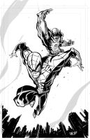 SPIDEY AND WOLVEY INKS by darquem