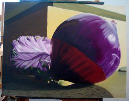 Painting 1 Onion and Fancy Cabbage Still Life by flufdrax