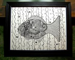 Framed Abstract Fish by firenze