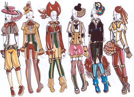 Steam Punk / Pirate Outfits Points Lowered. by DesertTigerLily