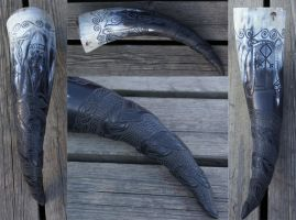 Carved Drinking Horn Odhr by Wodenswolf