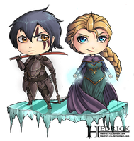 Commission + Chibi Onyx and Elsa by Hedrick-CS