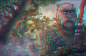 Weretiger and Blank (Anaglyph 3D version) 1 of 3 by ObsidianAbnormal