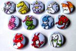Digimon button set by MischievousPooka