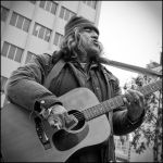 Street Musician in BW by adriftphotography