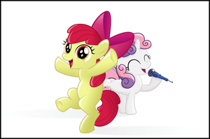 Apple Bloom and Sweetie Belle by BlackGryph0n