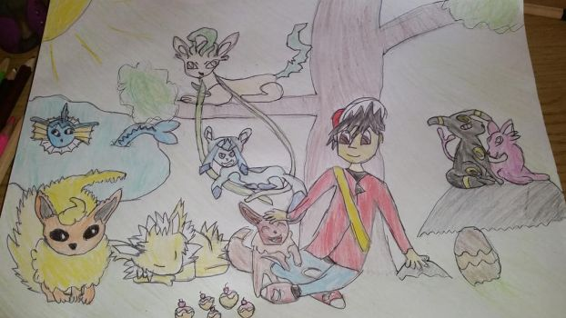 Red and his Eeveelutions by Izzychu