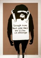Banksy Chimp by abloggingape