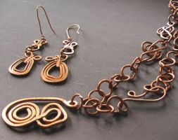 Spiral with a hole Necklace and Earrings Set by Barah-Art