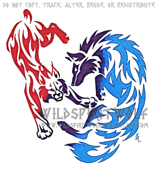 Wolf And Bobcat Color Tattoo by WildSpiritWolf