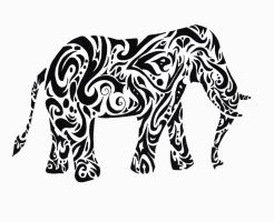 Tribal Elephant Tattoo Design by RaeiGardland