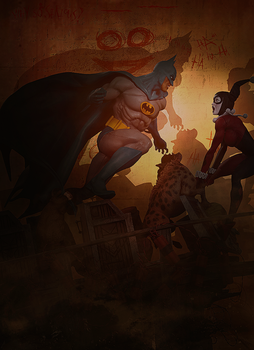 Batman Vs Harley Quinn by Aste17