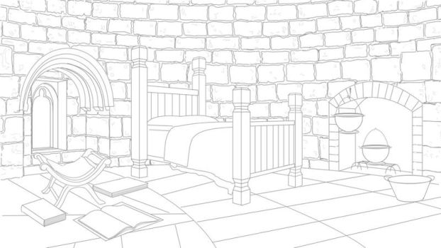 Tower room lineart by Lesleigh63
