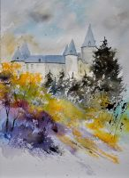 Castle of Veves   Watercolor by pledent