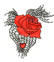 Spiderweb Rose and Heart Tattoo by littlenatnatz101