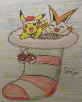 Victini and Pikachu Christmas by Sonic0001