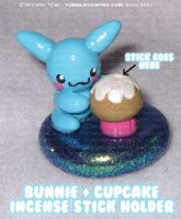 Bunny Cupcake Incense Holder by xlilbabydragonx