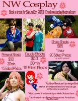 Photo Shoots for Sakura Con 2013 New Prices by nwcosplay
