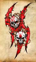 SKULLS, TRIBAL AND THORNS by CRAZYGRAFIX