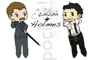 Paper Holmes and Watson Print by capaow