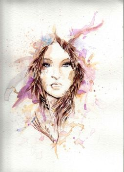 Watercolor + ballpoint ink pen. by Kartesh