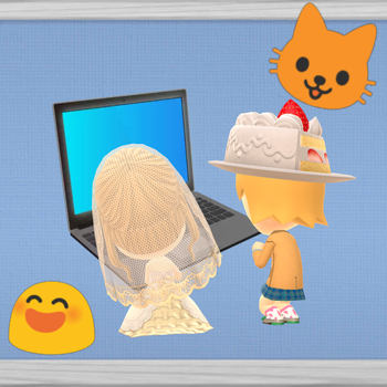 Isabelle and Cupcake on a laptop by Blazikenpwnsyou