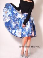 Blue Floral 50s Circle Skirt by yystudio