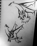 Latios and Latias tribal tattoo design by ReinsQueen