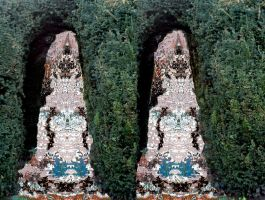 Stereoscopic Collage Demo, Yew Hedge Demigod by aegiandyad