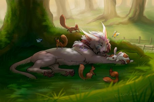 Commission - Linksie, The Squirrel Whisperer by tigon