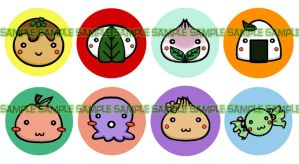 Food Set Buttons by momoiro-machiko