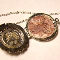 World Peace Antique Map Locket by SteamSociety