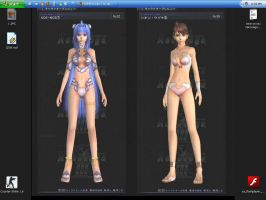 KOS-MOS+Shion in swimsuit by SOMSOKsole-T