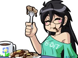 Miss Violet eats waffles by rongs1234