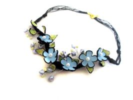 Blue floral leather necklace by julishland
