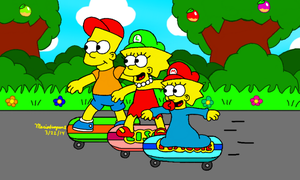 Skateboarding with Bart by MarioSimpson1