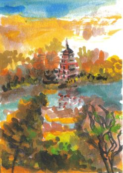 August Pagoda ACEO Card by renadamsart