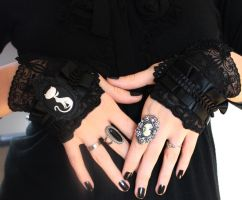 Victorian mittens with cat cameo by Pinkabsinthe